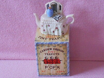 Cardew Tiny Teapot.. Pink Dressing Table.. Boxed.. Lovely Condition..