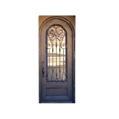 Custom Made Double Exterior Front Entry Single Wrought Iron Glass Door - ITO