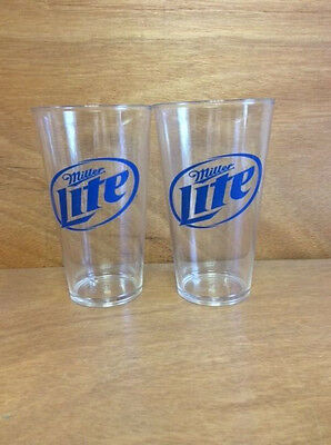 Miller Lite 16oz Pint Glasses -NEW - Clear Acylic - Set of 2 - Free Shipping