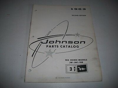 1963  Johnson 3  Hp Outboard Sea Horse Parts List Catalog Jw-Jwl-18R