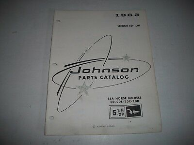 1963  Johnson 5 1/2   Hp Outboard Sea Horse Parts List Catalog Cd-Cdl-20C-20R
