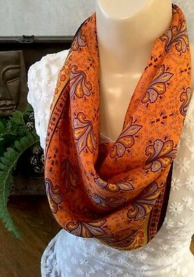 "Floral Silk Scarf Fleuer de Lis Orange Yellow  Light Purple 23"" Square VTG 60's"
