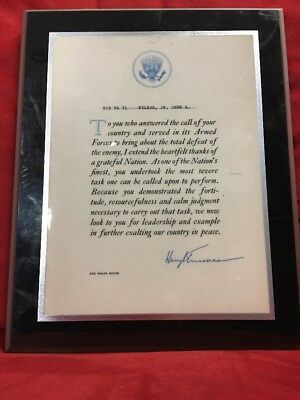 WWII PRESIDENT HARRY TRUMAN Military TOTAL DEFEAT OF ENEMY THANK YOU LETTER