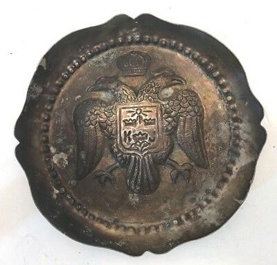 ATQ Silver-plated Ashtray with 2 Eagles Shield + Crown