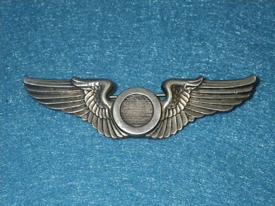 """ORIGINAL WWII USAAF Sterling  Observer Wing 3 1/8"""" Full Sized - Pin Back"""