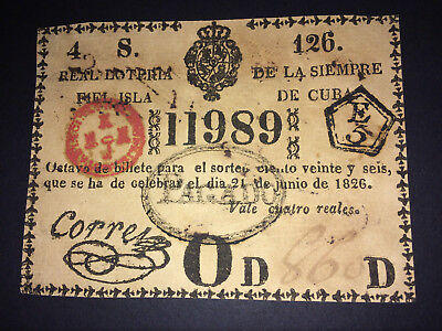1826 ANTIQUE LOTTERY TICKET STAMP ~ Colonial Spain ~ INCREDIBLE GAMBLING MEOMRY
