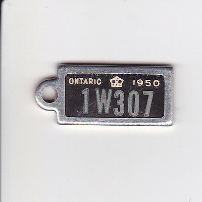 War Amps License Plate Keychain Tag 1W307 Ontario Canada 1950 Crown