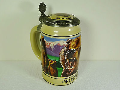 1992 Anheuser-Busch Budweiser Grizzly Bear Limited Edition Collector Beer Stein