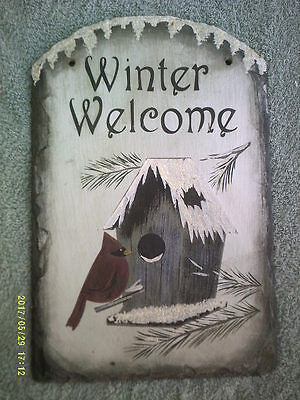 Slate Winter Welcome Sign with Glitter Snow-Topped Birdhouse Red Cardinal Bird