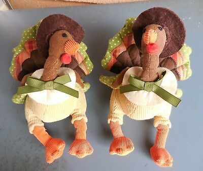 Set of 2 Pottery Barn Kids Thanksgiving Turkey Plush Toys