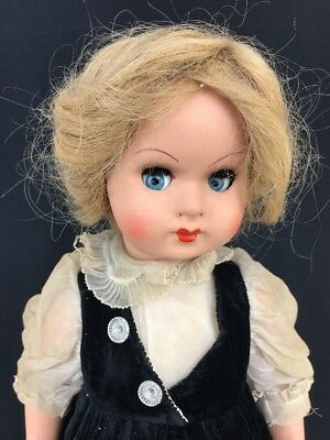 Vintage Ca. 1950s Italian Composition Flirty Eyed Girl Doll Blonde Unmarked 20""