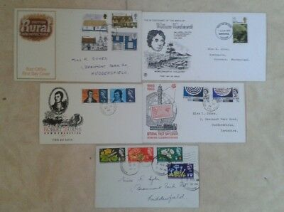 5 FIRST DAY COVERS G.B. incl. 1970 WORDSWORTH 1970 RURAL ARCHITECTURE