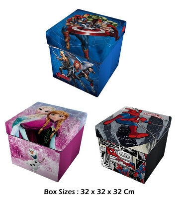 Marvel Avengers Spider man Frozen  Storage Box With Printed Cushion Licensed UK
