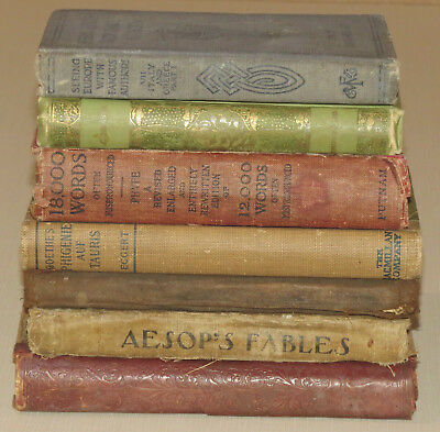 Lot of 7 Vintage Antique Small Libary Bookshelf Decor Distressed Tattered Faded