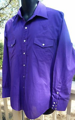 MALCO MODES  SQUARE DANCE Color-Coordinated Mens Western Shirt - 16-1/2 PURPLE