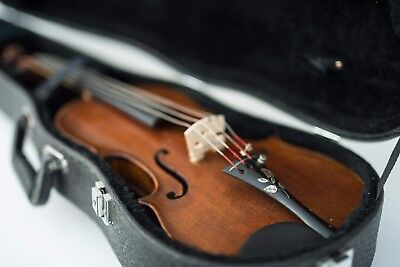 Antique Violin with Mother of Pearl Inlay Tailpiece, Case & Bow