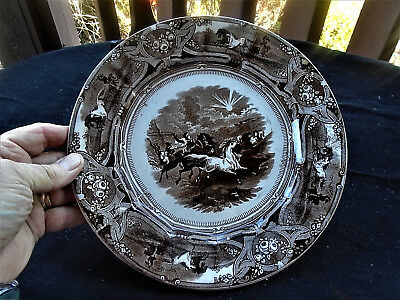 "Antique Shaw's ""peruvian Horse Hunt"" Equine English Porcelain 1853 Signed Plate"