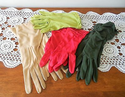 VINTAGE LADIES GLOVES X 4 PAIR C1950s CAMEL DARK GREEN LIME GREEN CERISE NYLON