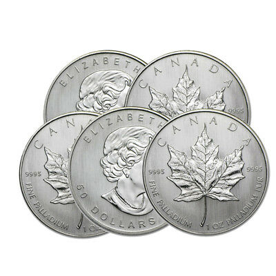Lot of 5 - 1 oz Canadian Palladium Maple Leaf $50 Coins .9995 Fine Random Years