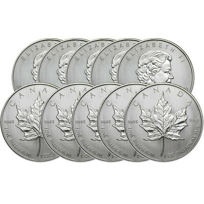 Lot of 10 - 1 oz Canadian Palladium Maple Leaf $50 Coins .9995 Fine Random Years