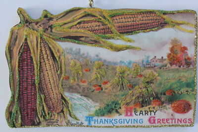 Pumpkin & Corn Field * Thanksgiving  Ornament * Vintage Card Image * Glittered