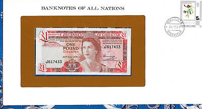 Gibraltar 1 pound 1975 UNC P20a Prefix J Banknotes of All Nations