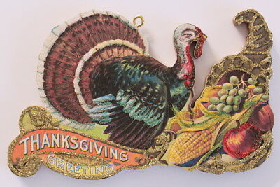 Cornucopia & Turkey * Thanksgiving  Ornament * Vintage Card Image * Glittered