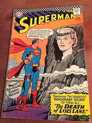 "Superman # 194 ""the Death Of Lois Lane"" Decent Silver Age Comic Book"