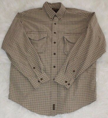 Woolrich John Rich Bros Mens Vented Fishing Long Sleeve Shirt Brown Checkered