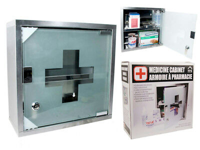 NEW Home Essentials Locking Stainless Steel Medicine Cabinet $59.99
