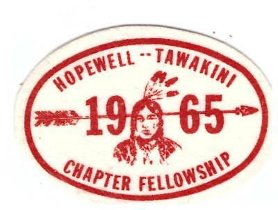 Vintage Boy Scout patch (felt) Hopewell Tawakini Chapter fellowship 1965