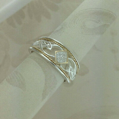 Sterling Silver Diamond Celtic Knot Ring KEITH JACK Size 6.5