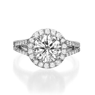 GIA Certified 2.78 ct Round Cut H SI2 Diamond Engagement Ring 18K White Gold