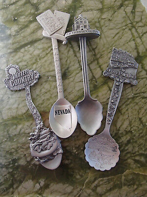 Set Of 4 Collectible Pewter Spoons,