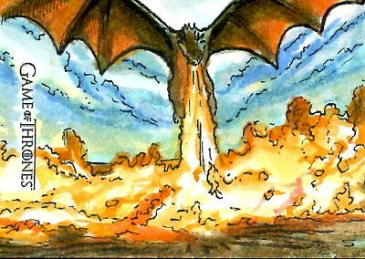 Game Of Thrones Valyrian Steel ARTIST SKETCH card DAN GORMAN - DROGON AND FIRE