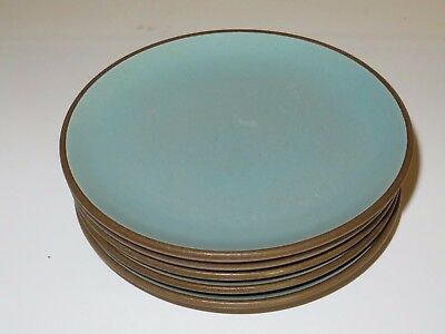 5 Edith Heath Pottery Turquoise Bread Plates