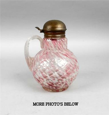 Hobbs Venetian Diamond Pink & White Spatter Syrup Pitcher Circa 1887