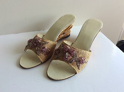 Vintage 1950's/60's Straw Slipper with Carved Wood Heels