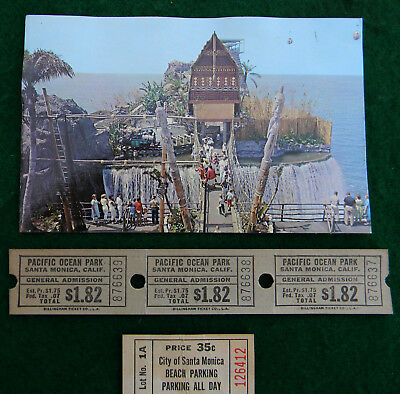Pacific Ocean Park Santa Monica Ca. Postcard & Tickets
