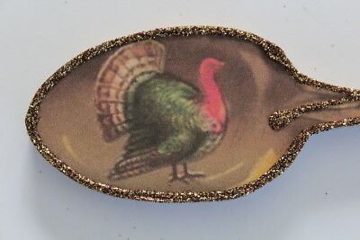 Turkey Spoon * Thanksgiving  Ornament * Vintage Card Image * Glittered