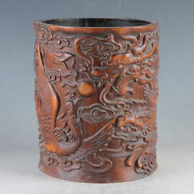 Exquisite Bamboo Wood Hand Carved Dragon & Phoenix Brush Pot DY482