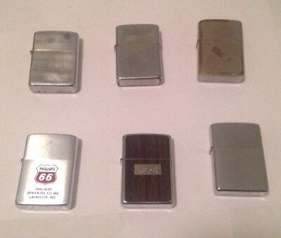 Vintage Zippo Lighters Lot Of 6-Phillips 66 & Others