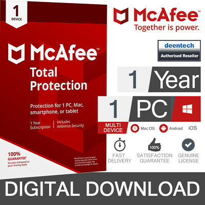 McAfee Total Protection 2019 (1 User) Multi Device PC/Mac Genuine License Key