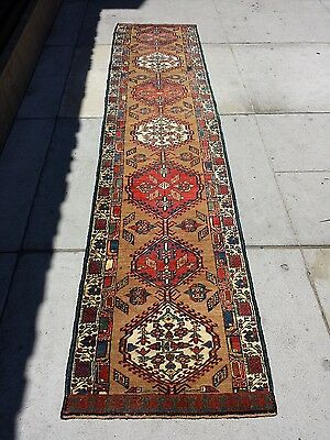 Antique Hand Knotted Sarab Wool Runner Rug