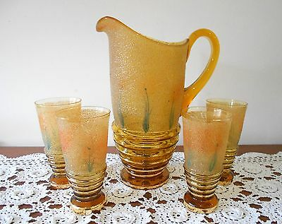 Art Deco Amber Glass Water Lemonade Set Jug & 4 Glasses Textured