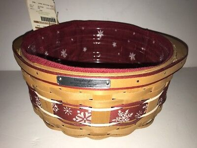 Longaberger 2010 Christmas Collection Falling Snow Basket With Liner
