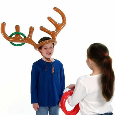 Inflatable Reindeer Christmas Hat Antler Ring Toss Holiday Party Game Toys New