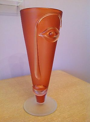 "Studio Art Glass VASE Asymmetrical face England IESTYN DAVIES ""BLOW ZONE 1997"""