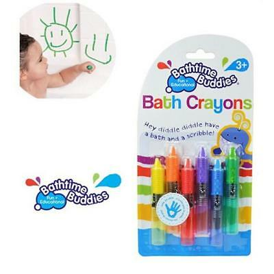 6pcs Baby Kids Children Bathtime Erasable Safety Level Bath Crayon Crayons JA