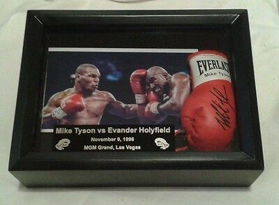 Mike Tyson Vs Evander Holyfield  Black Boxing  Display Case With Glove